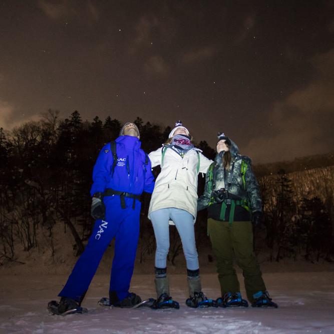 Night sky views during snowshoe tour
